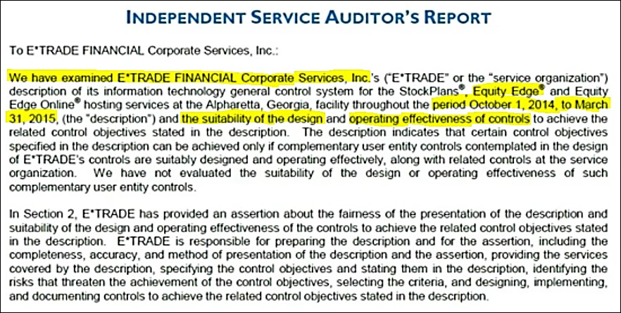 Section 1: Auditors Report