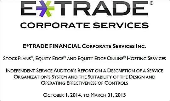ETrade Report front page