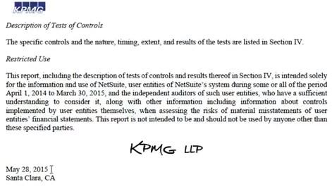 NetSuite Description of Test of Controls