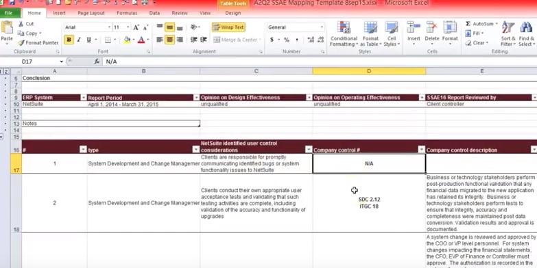 user control consideration spreadsheet