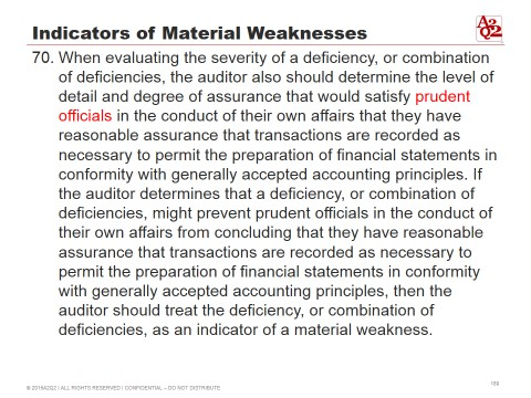 Indicators of material weaknesses combination of deficiencies