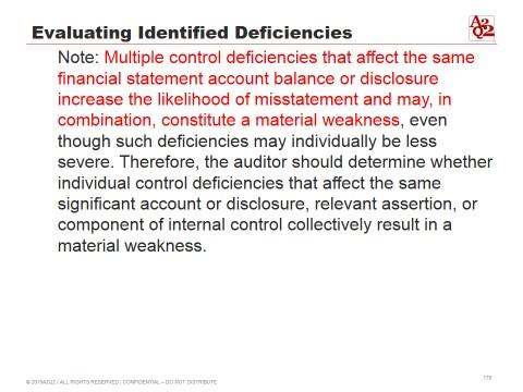 evaluating identified multiple control deficiencies
