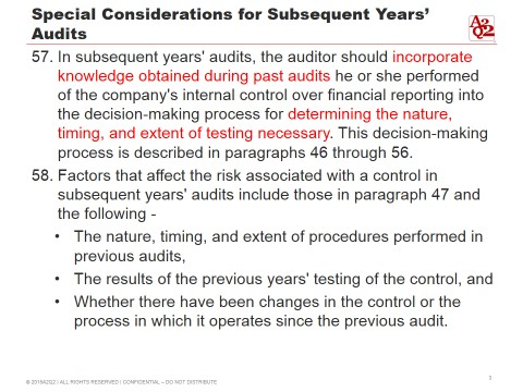 Special Consideration Subsequent Years Audit A2Q2