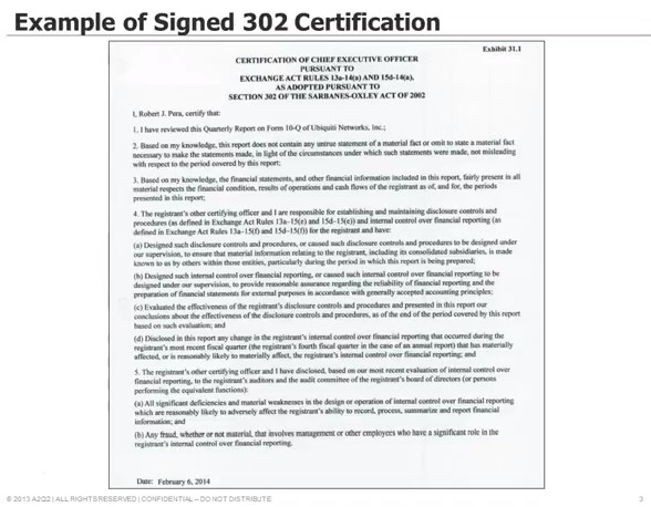Sox 302 Set Up Certification Process