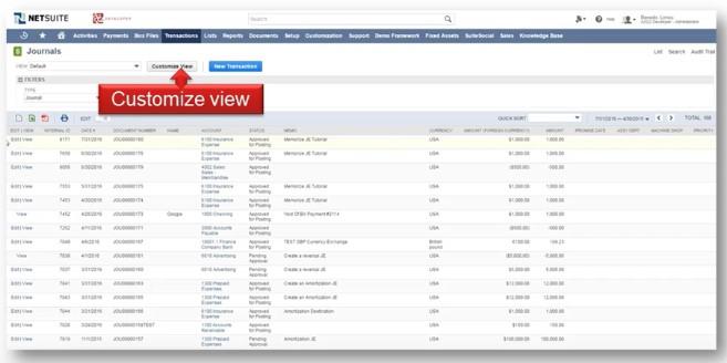 NetSuite Transaction List