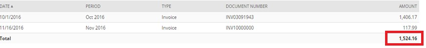 screenshot of example of consolidation of 2 invoices
