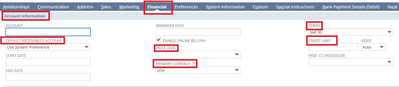 Default fields in Financial tab for account information