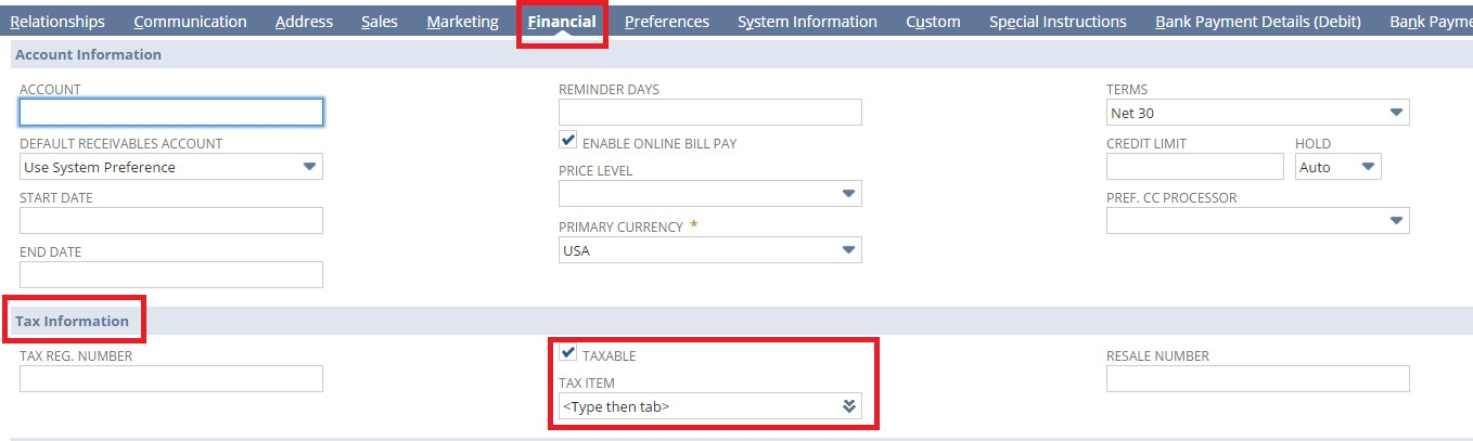Fields in Financial tab for tax information