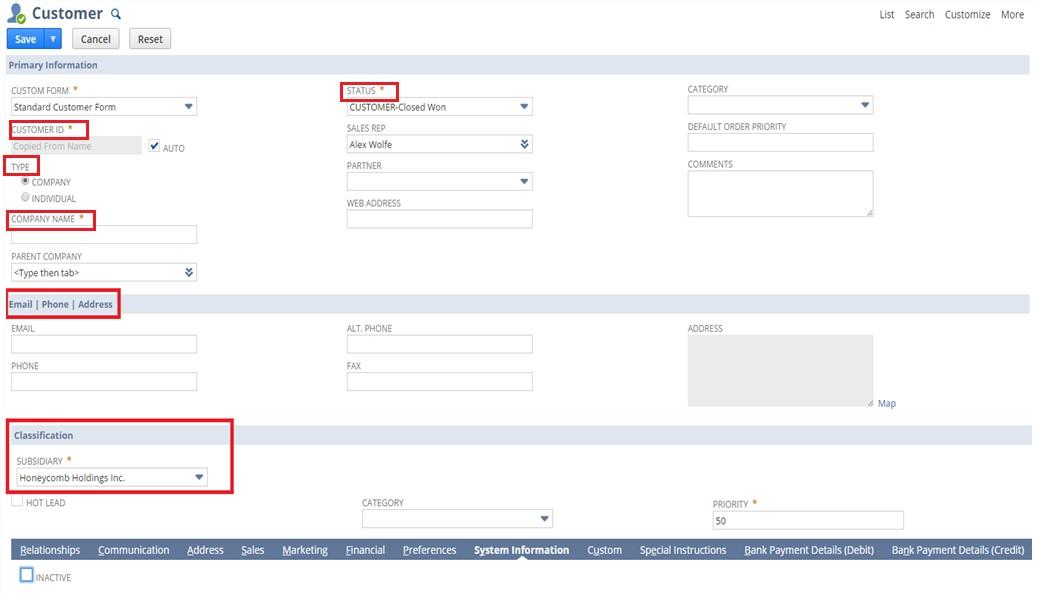 screenshot of NetSuite form
