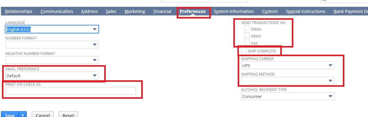Screenshot for preferences tab