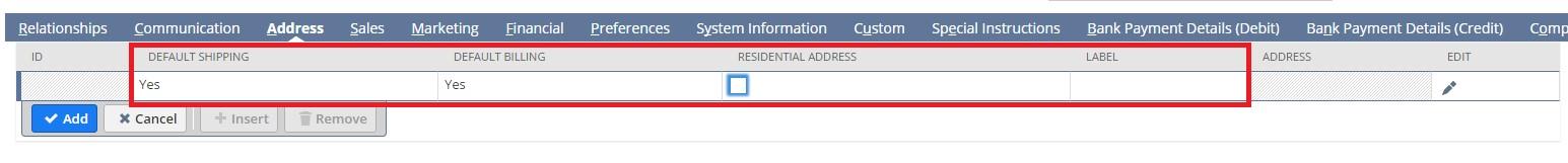 Screenshot of address tab fields