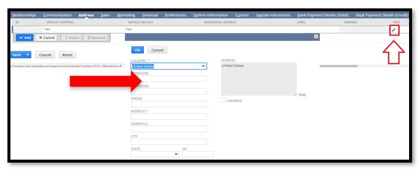 fields in entering the customer address