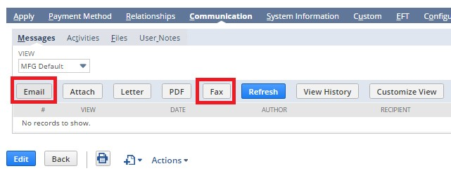 Email or Fax the receipt by clicking the buttons