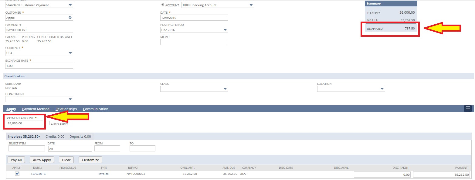 screenshot of unapplied amount