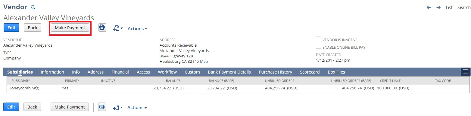 Screenshot of vendor record