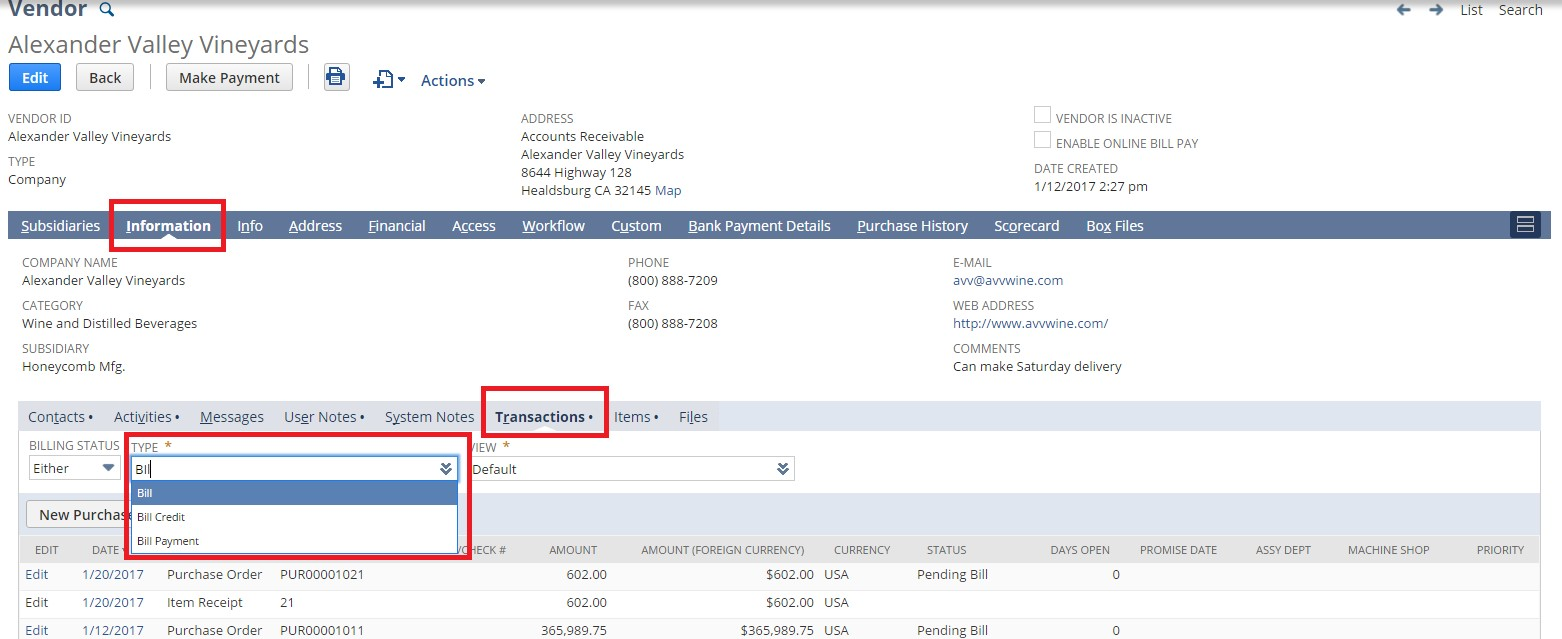 Screenshot of information tab from the vendor record