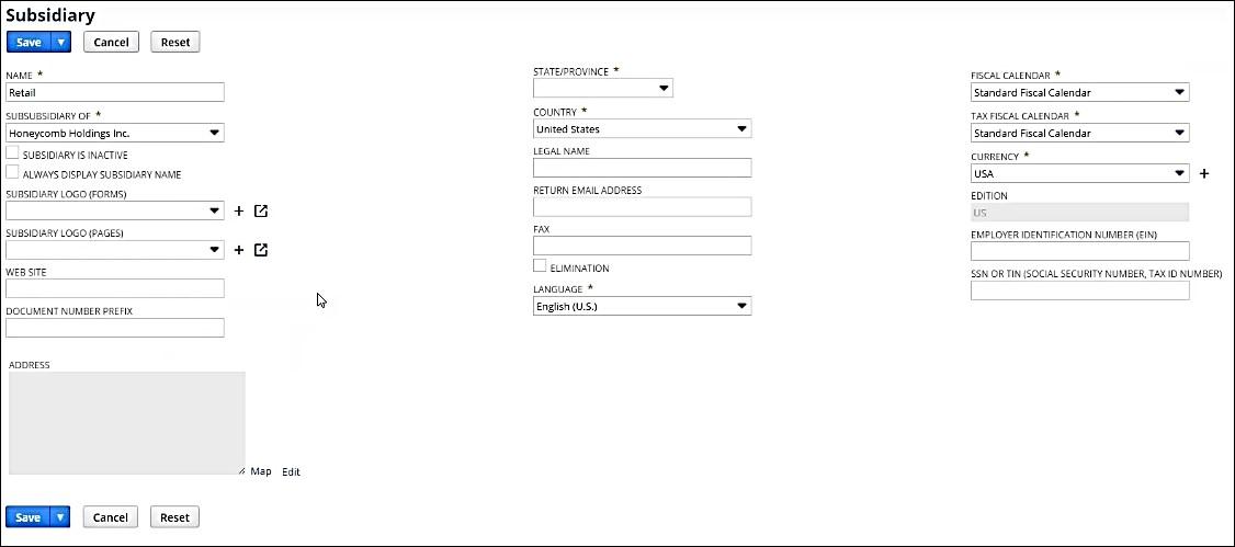 Subsidiary Form