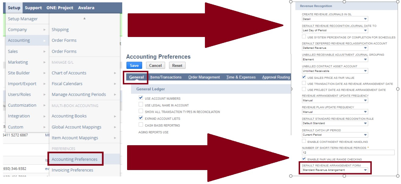 Steps in setting up the accounting preferences