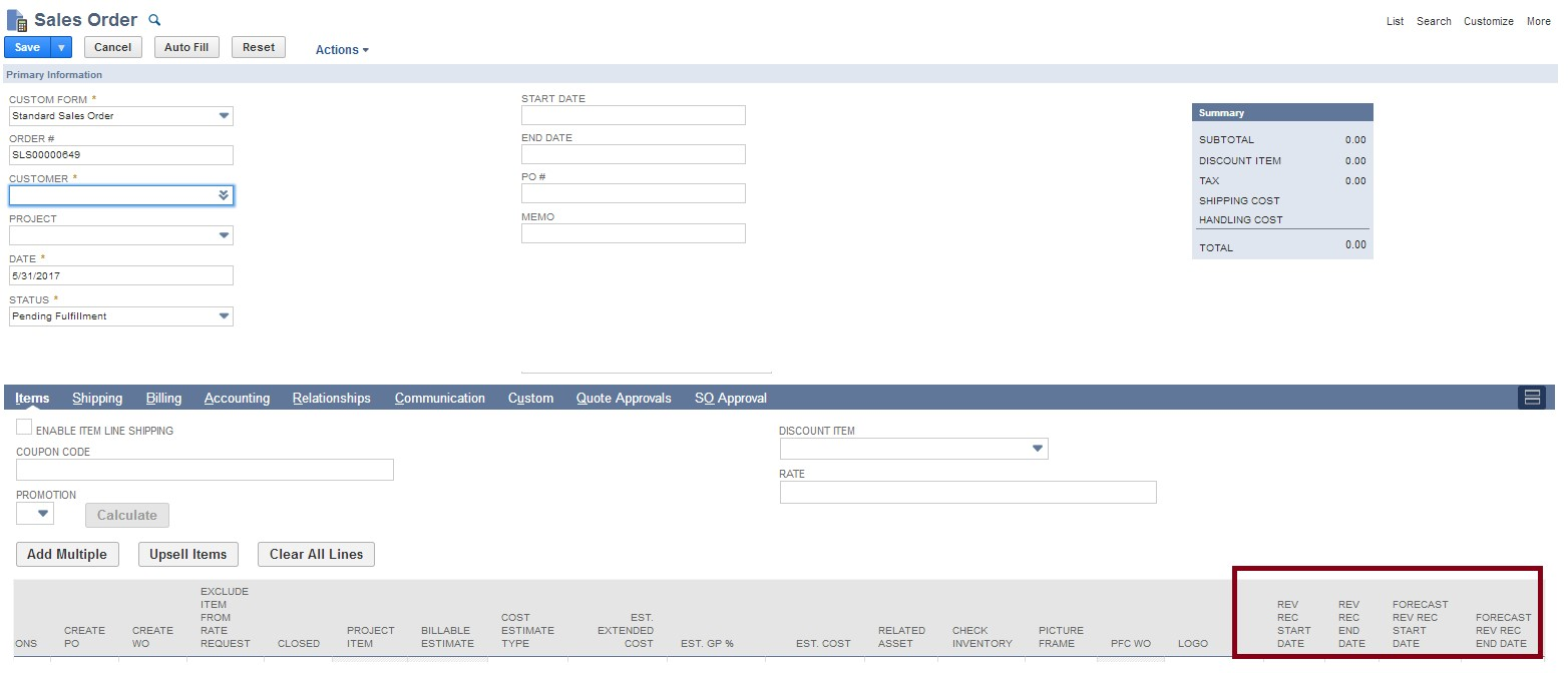 screenshot of sales order form