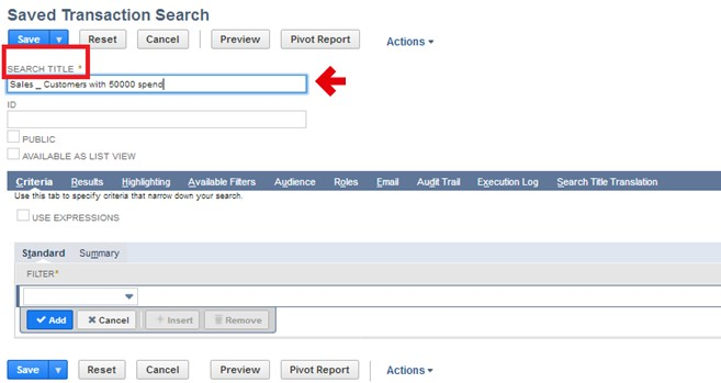 Saved Transaction Search title field