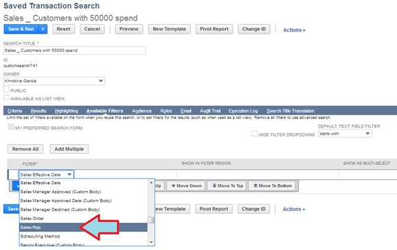 adding filters for saved search