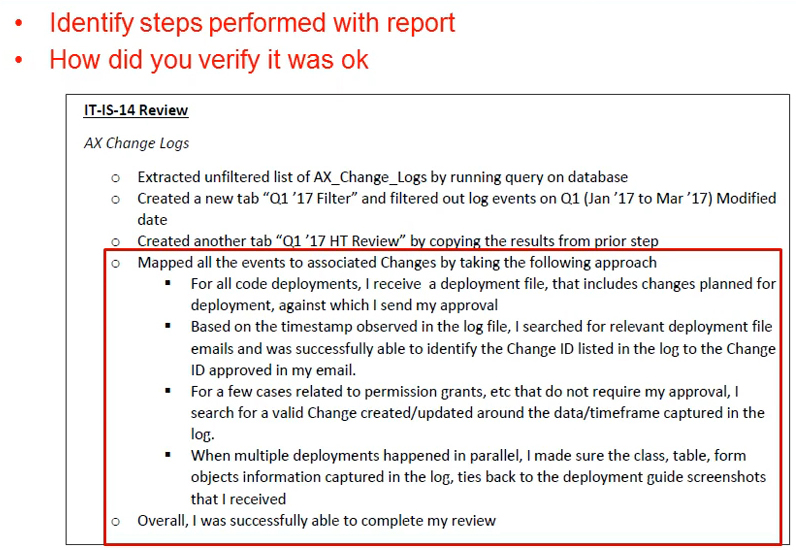 Good Example of Documented System Change Log Review